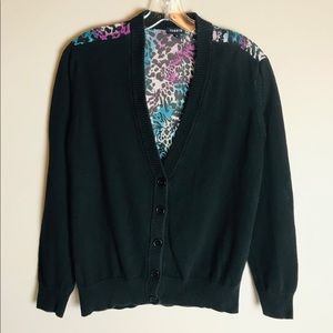 Torrid Cardigan Sweater Size 0 Black Multi Color